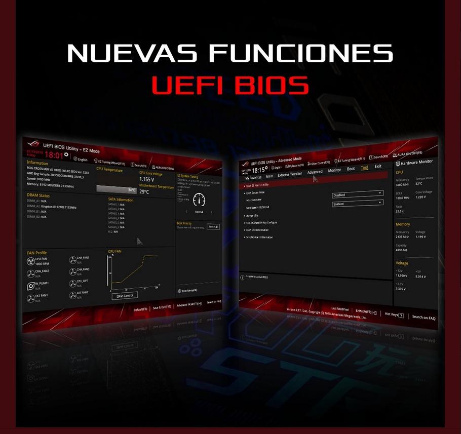 Asus actualiza sus BIOS UEFI con nuevas funciones