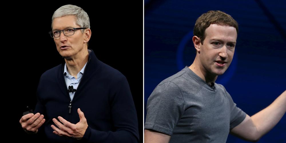 """Mark Zuckerberg califica de """"simplistas"""" y falsas las críticas de Tim Cook"""