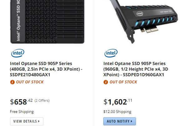 Photo of Intel Optane 905P ya ha sido listado en varios comercios online