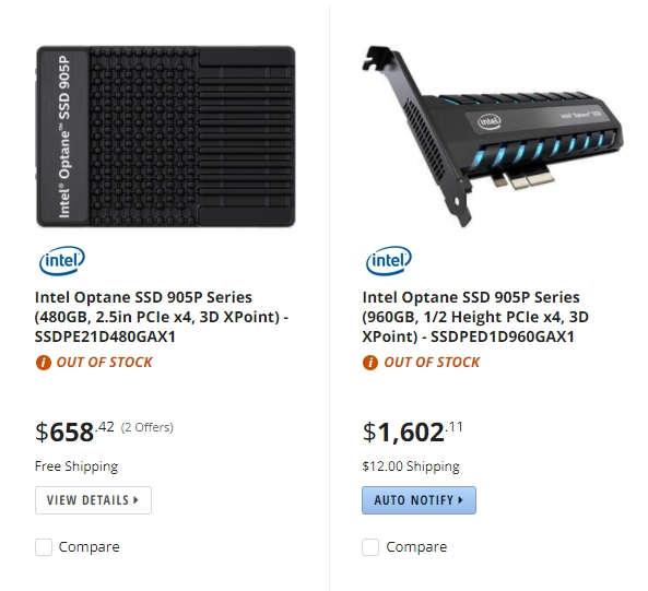 Intel Optane 905P aparece en Newegg