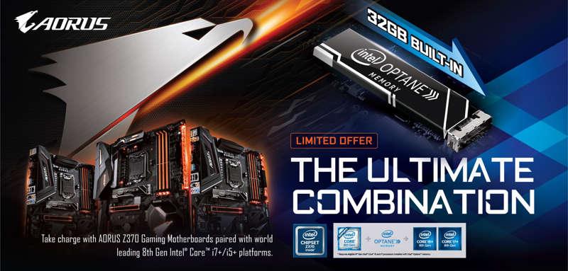 nuevas placas base Z370 AORUS con un módulo Intel Optane de 32 GB incluido