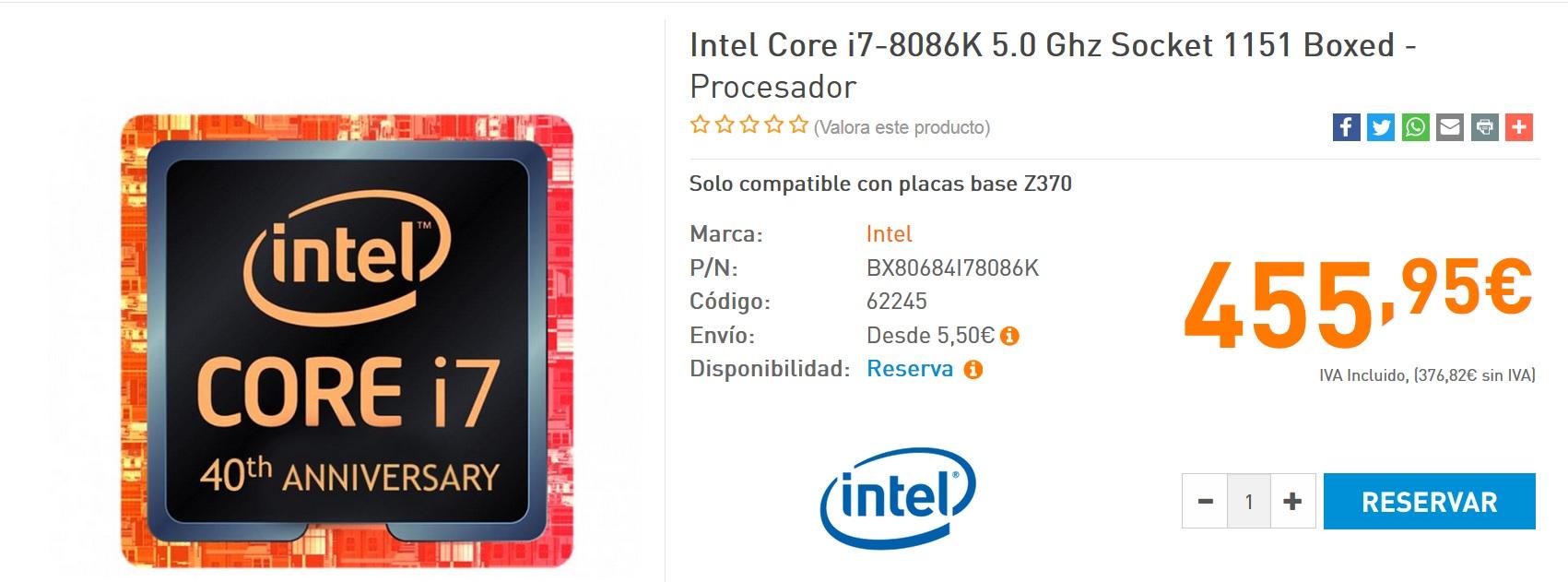 Core i7 8086K listado coolmod