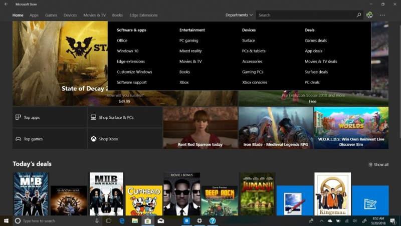 Microsoft Store será más intuitiva gracias a un nuevo menú