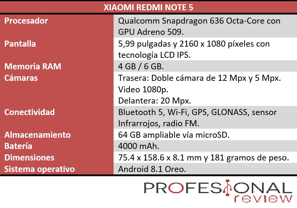 Xiaomi Redmi Note 5 características