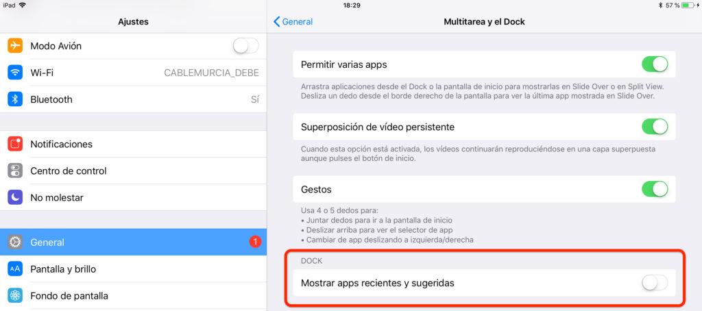 Cómo desactivar las apps recientes y sugeridas en el dock del iPad con iOS 11