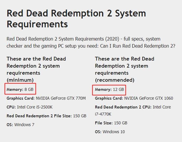red dead redemption 2 requisitos