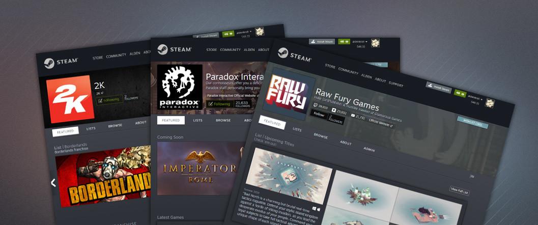 Las páginas de los desarrolladores y los editores llegan a Steam