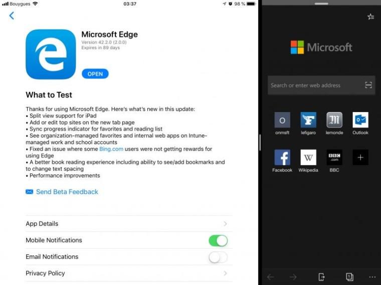 Microsoft Edge vista dividida ipad