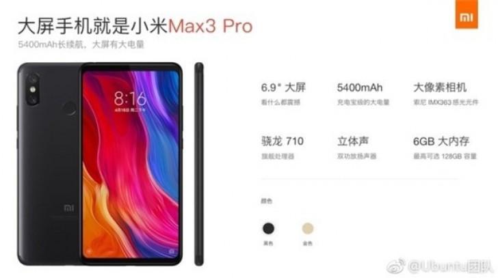 Xiaomi Mi Max 3 Pro con Snapdragon 710
