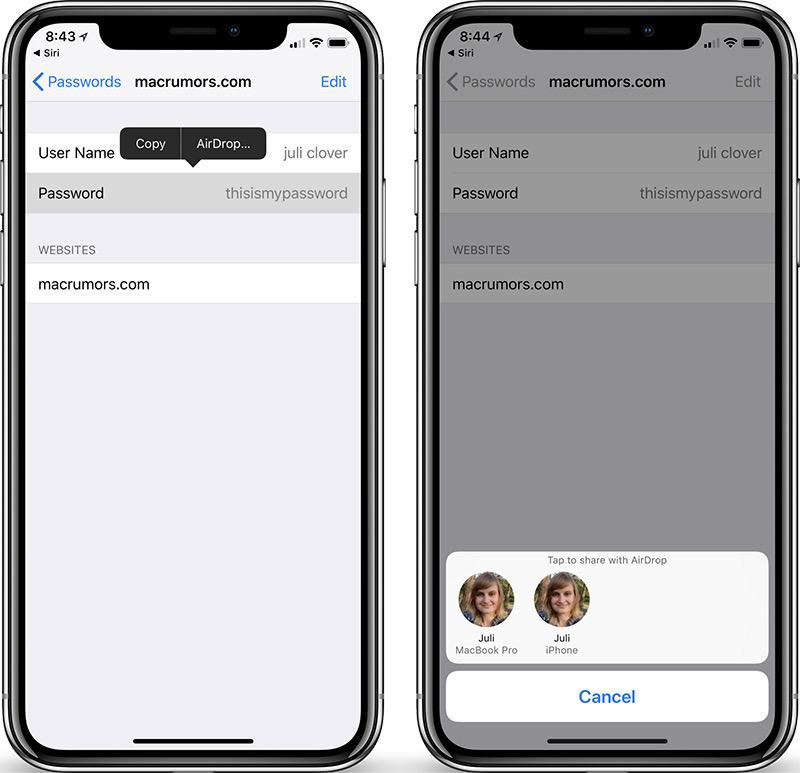 Con iOS 12 podrás compartir contraseñas por AirDrop
