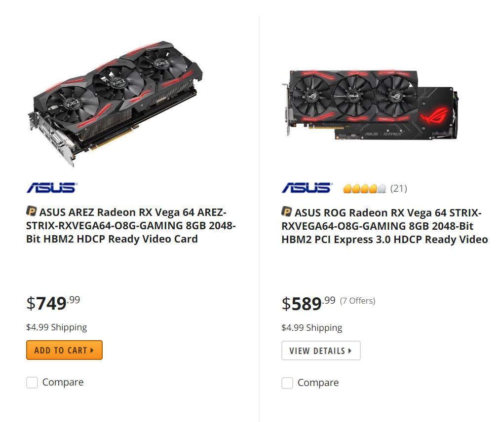 AREZ Strix Radeon RX Vega 64 listada por un precio superior a la variante Asus ROG