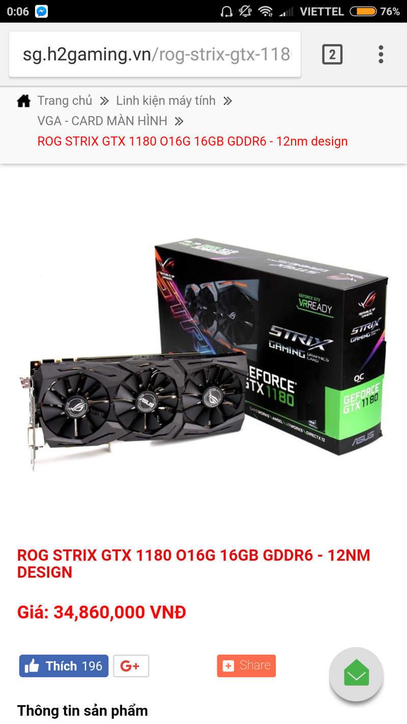 Asus ROG Strix GeForce GTX 1180 ha sido listada