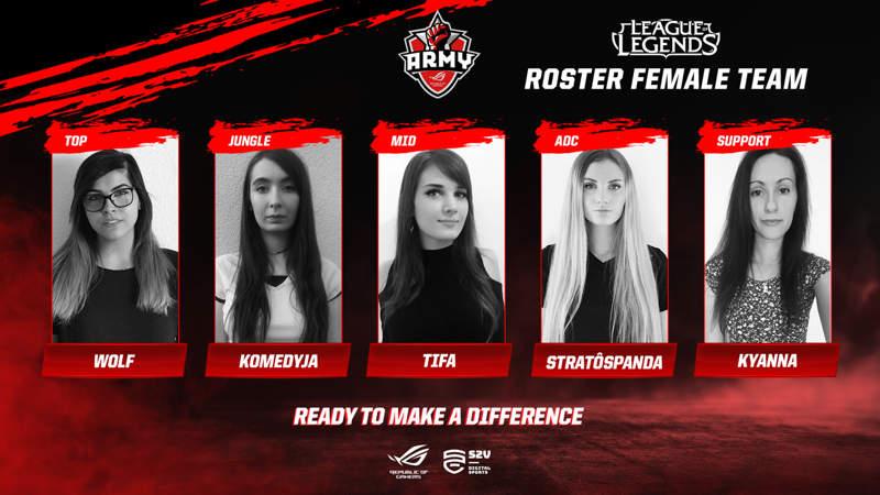 El equipo Asus ROG Army femenino hará su debut en League of Legends