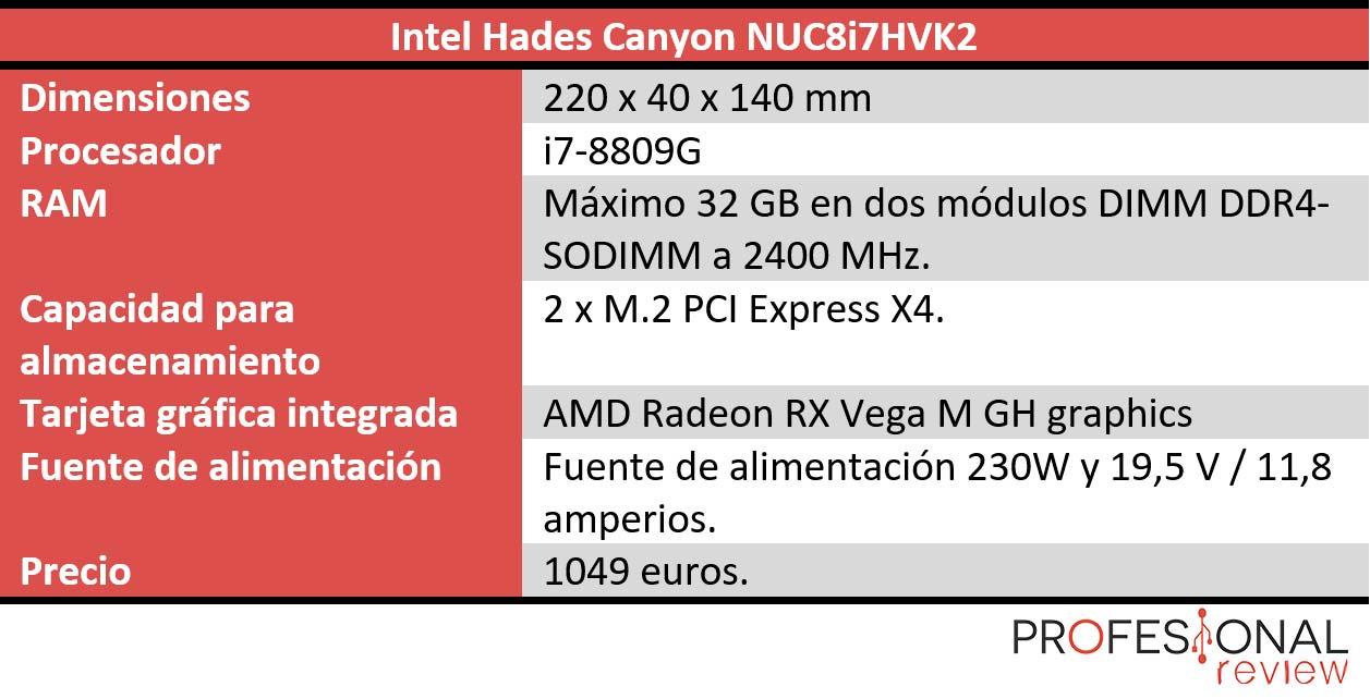 Intel Hades Canyon NUC8i7HVK2 características