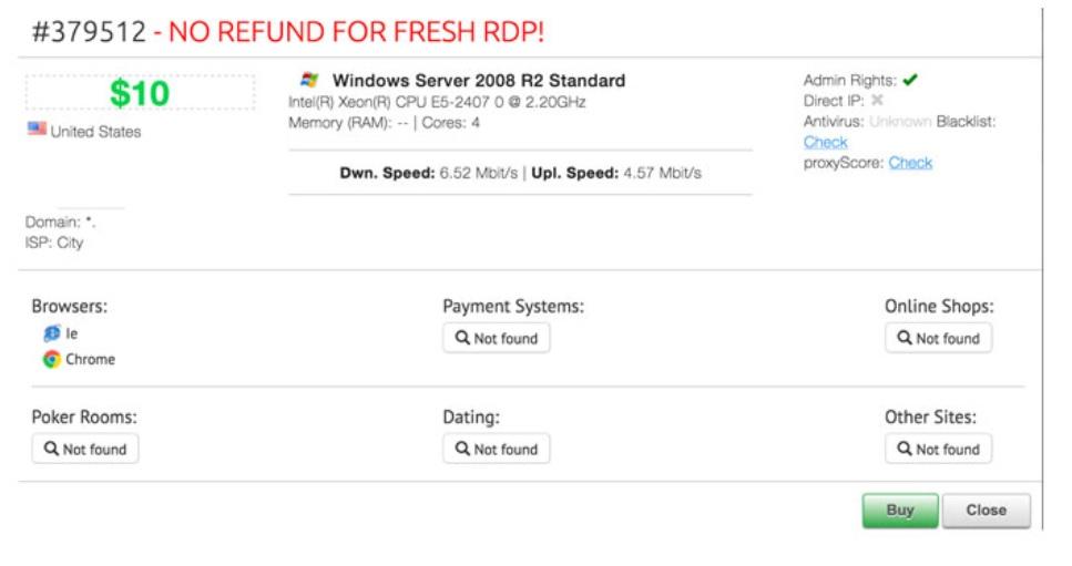RDP Shop vende acceso RDP por un precio de solo 10 dólares