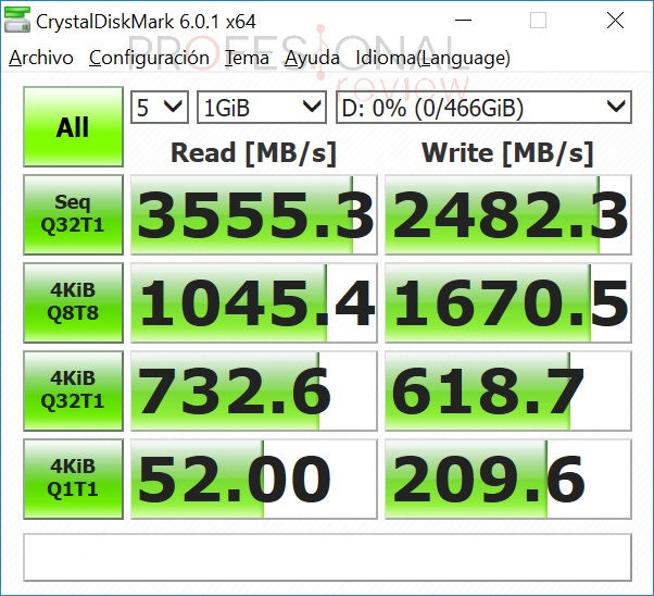 Samsung 970 EVO funcionando a NVME X4