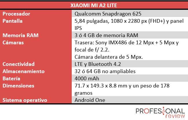 Xiaomi Mi A2 Lite características técnicas