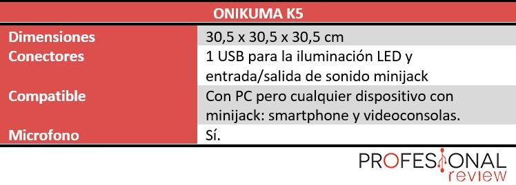 Onikuma K5 características técnicas