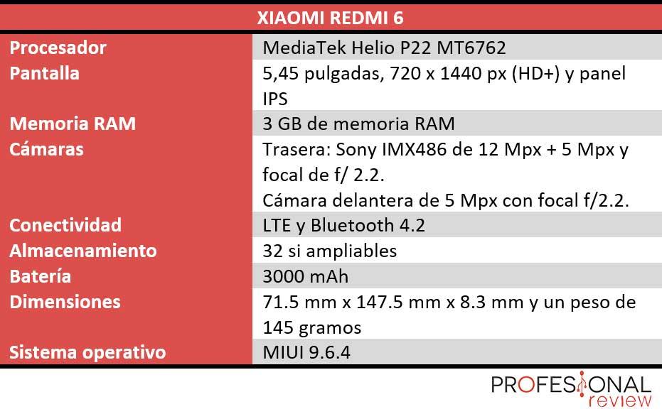 Xiaomi Redmi 6 características técnicas