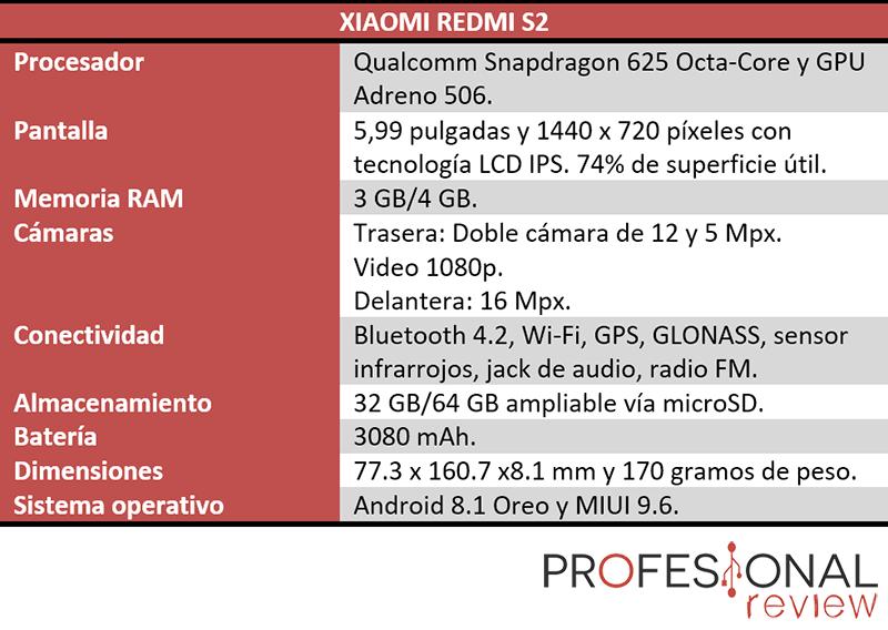 Xiaomi redmi S2 características