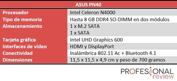 Asus PN40 características técnicas