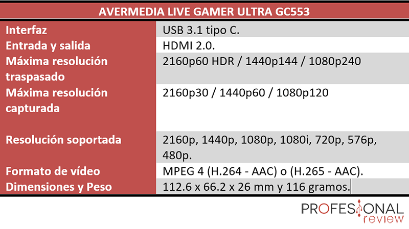 Avermedia Live Gamer Ultra GC553 especificaciones