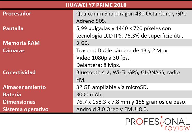 huawei y7 prime 2018 características técnicas