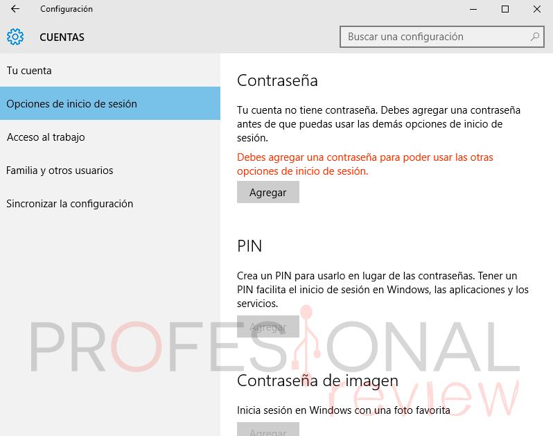 Quitar la clave en Windows 10