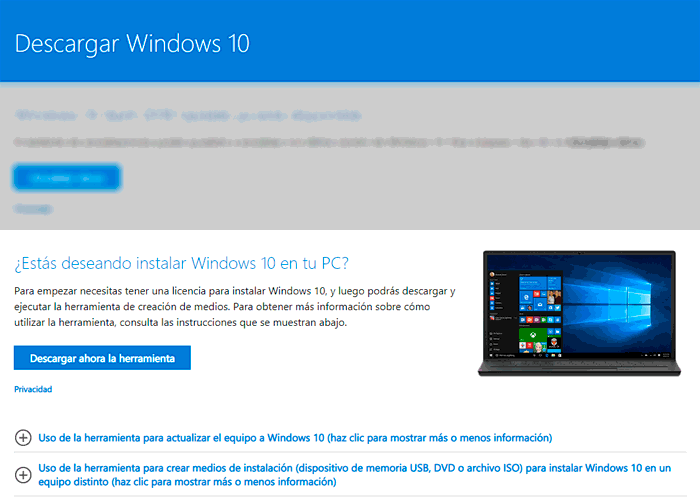 Crear USB booteable Windows 10