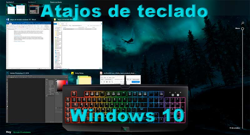 Atajos de teclado Windows 10