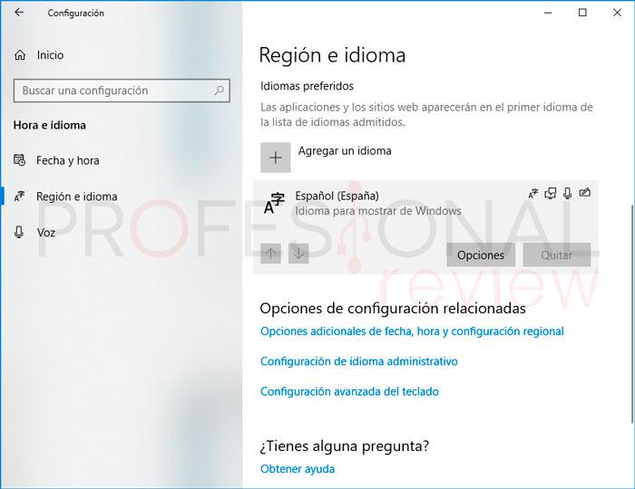 Cambiar Idioma Windows 10 paso02