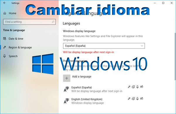 Cambiar Idioma Windows 10