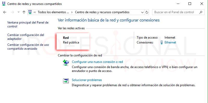 Cambiar red pública a privada Windows 10 p03