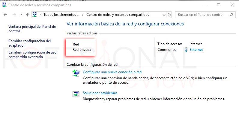 Cambiar red pública a privada Windows 10 p05