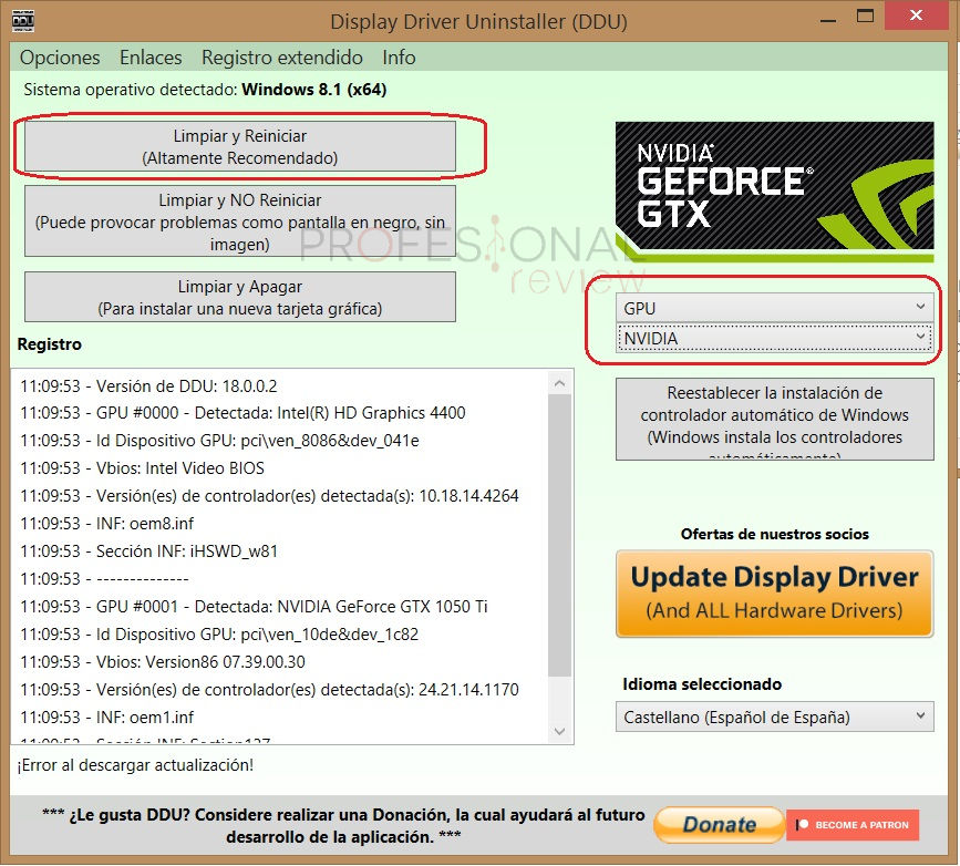 Como desinstalar drivers con Display Driver Uninstaller