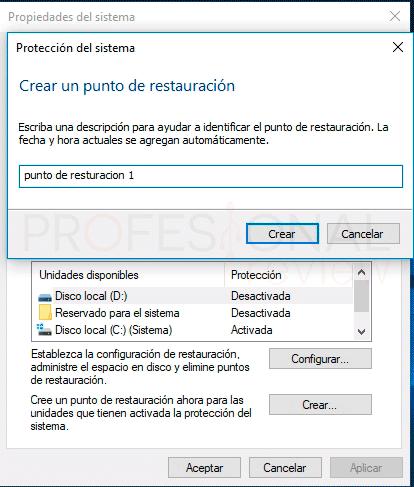 Crear punto de restauración Windows 10 paso04