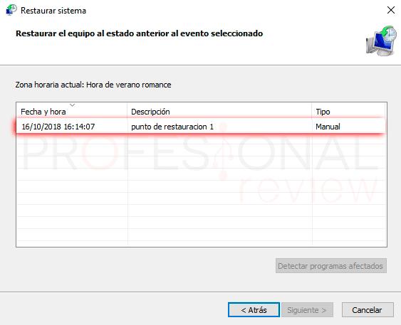 Crear punto de restauración Windows 10 paso06