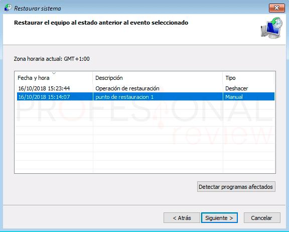 Crear punto de restauración Windows 10 paso11