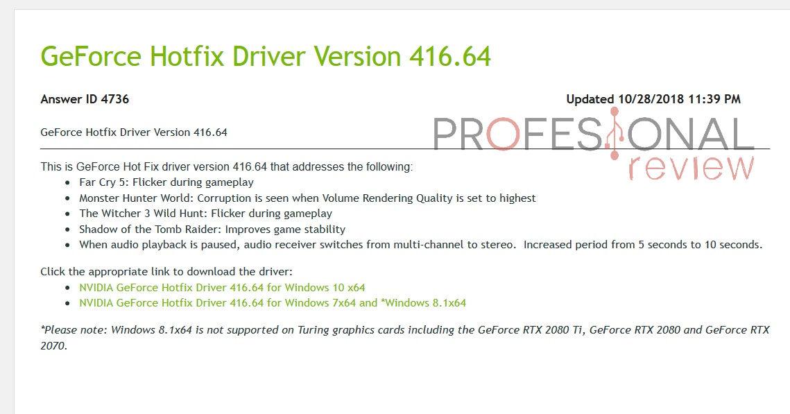 Nvidia GeForce 416.64 Hotfix