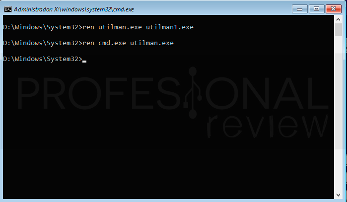 Restablecer contraseña Windows 10 paso22