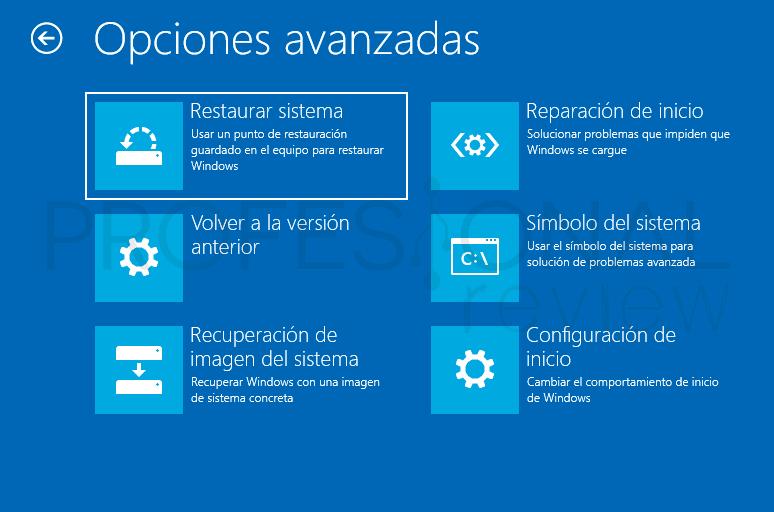 opciones avanzadas Windows 10