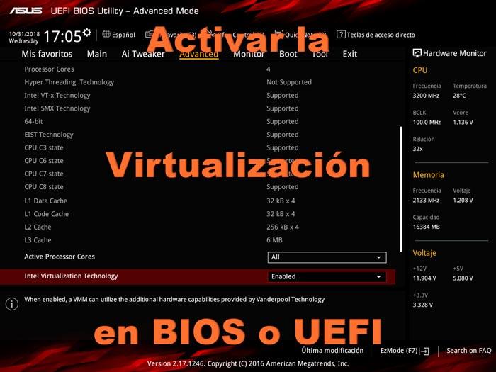 Activar virtualización en BIOS