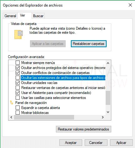 Extensión de archivo en Windows 10 tuto02