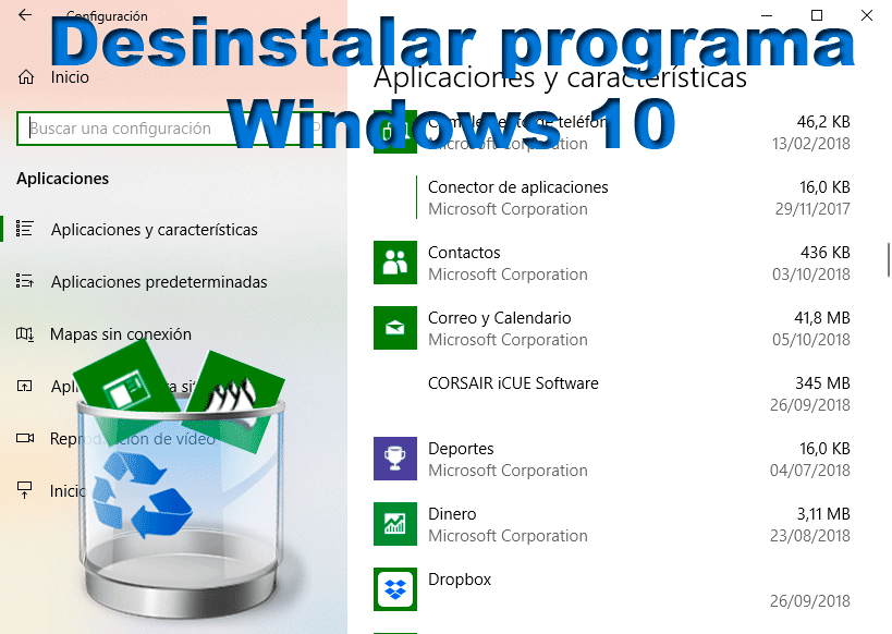 Desinstalar un programa Windows 10