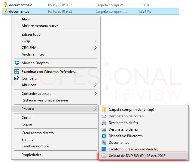 Grabar DVD Windows 10 paso05