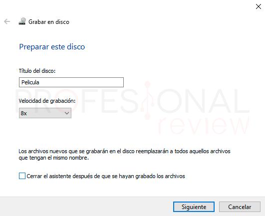 Grabar DVD Windows 10 paso10