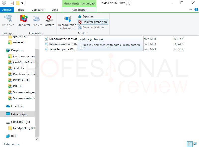 Grabar DVD Windows 10 paso11