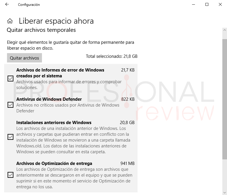 Liberar espacio Windows 10 paso08