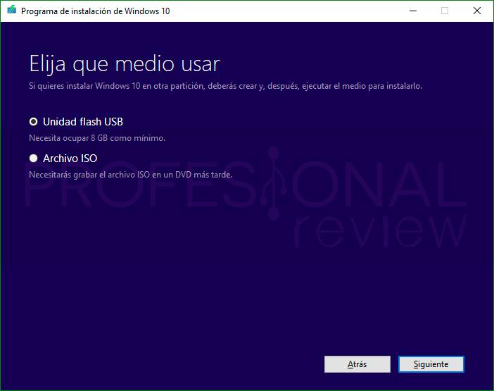 Media Creation Tool Windows 10 paso11