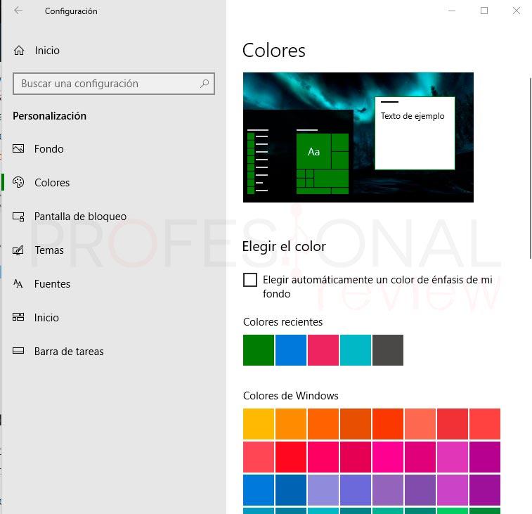 Personalizar menú inicio en Windows 10 paso 03